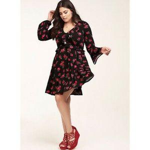 New Torrid Red Roses Jersey  skater dress